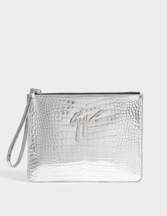 Giuseppe Zanotti Elettra Clutch Bag in Silver Leather