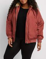 Charlotte Russe Plus Size Faux Fur Hooded Heavy Bomber Jacket