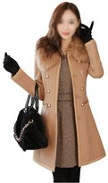 SODIAL(R) Sexy Women Slim Wool Faux Fur Trench Parka Double-Breasted Winter Coat Jacket