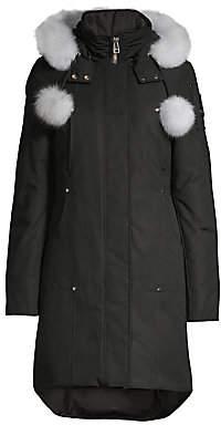 Moose Knuckles Women's Stirling Blue Fox Fur-Trim & Pom Pom Down Parka