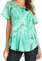 Sakkas 16483 - Hana Tie Dye Relaxed Fit Embroidery Cap Sleeves Peasant Batik Blouse / Top - OS