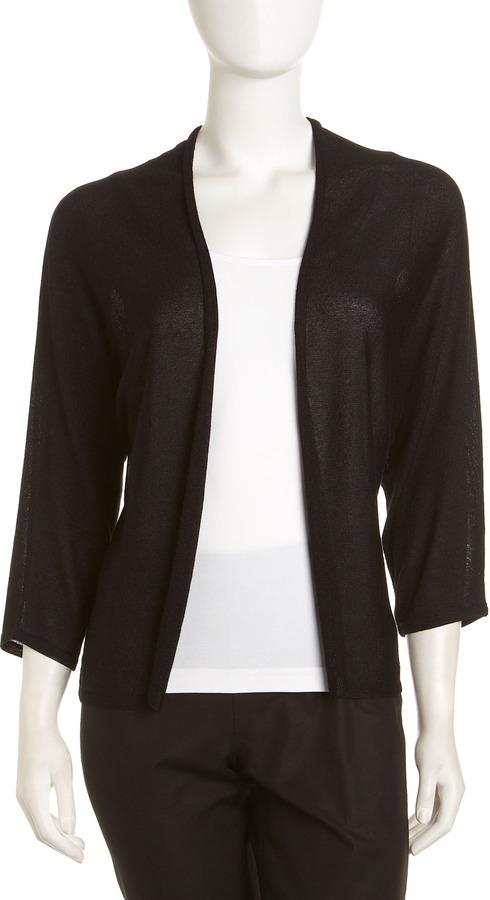 Neiman Marcus Open-Front Cardigan, Black