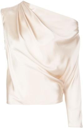 Mason by Michelle Mason one sleeve silk draped top