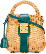 Mark Cross mini Manray satchel - women - Leather/Straw - One Size