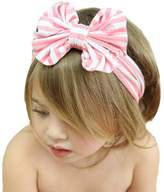 Tenworld Fashion Baby Girl Big Striped Bow Elastic Hairband Headwrap Hot