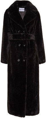 Stand Studio Faustine Double-breasted Belted Faux Fur Coat