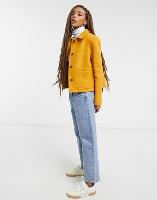 Gloverall daisy cropped jacket in yellow