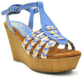Sbicca Blue Raite Leather Wedge Sandal