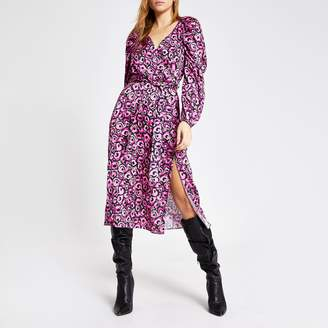 River Island Womens Pink floral long sleeve wrap midi dress