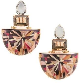 Silvia Furmanovich Marquetry 18K Yellow Gold, Multi-Stone & Wood Geometric Fan Earrings