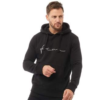 French Connection Mens Over The Head Logo Hoodie Black/White