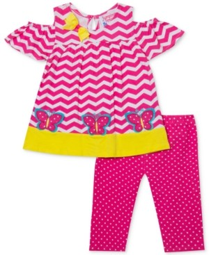 Rare Editions Baby Girls 2-Pc. Butterfly Tunic & Dot-Print Leggings Set
