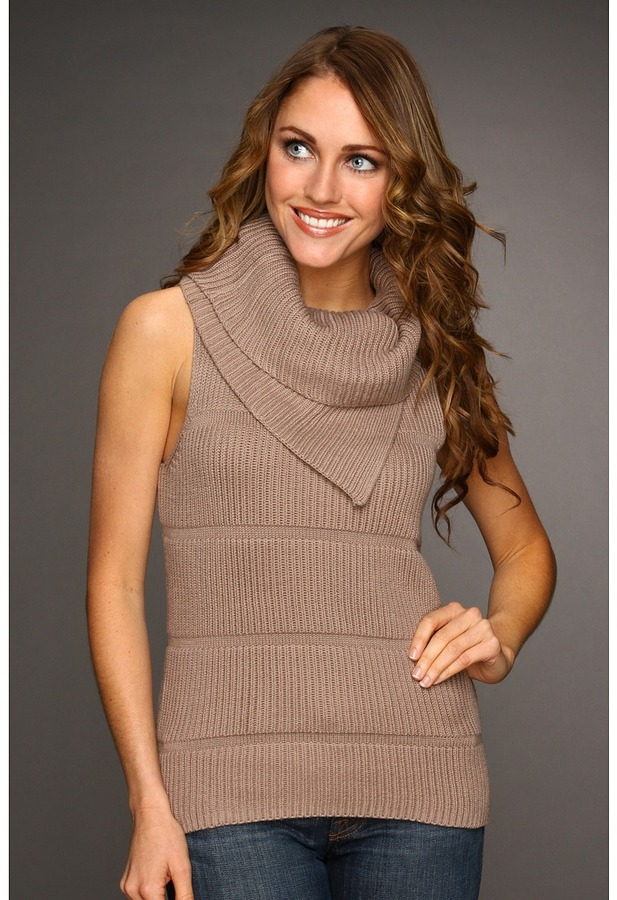 Kenneth Cole New York - Tuck Rib Double Layer Cowl Neck (Taupe) - Apparel