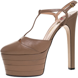Gucci Beige Leather T-Strap Platform Ankle Strap Pumps Size 38.5