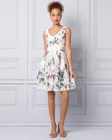 Le Château Abstract Print Chiffon V-Neck Dress