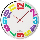 "Oliver Hemming Wall Clock with Bold Colorful Sideways Number Dial (12"")"