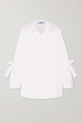 Prada Bow-embellished Cotton-poplin Shirt - White