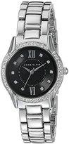 Anne Klein Women's AK/2161BKSV Swarovski Crystal Accented Silver-Tone Bracelet Watch
