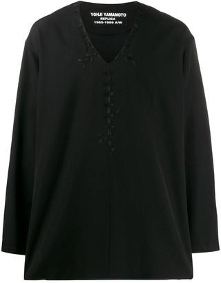 Yohji Yamamoto Embroidered Loose-Fit Silk Shirt