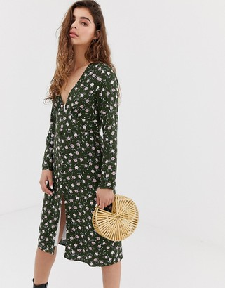 Wild Honey long sleeve midi tea dress in vintage floral