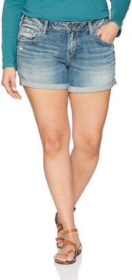 Silver Jeans Co. Women's Plus Size Sam Mid Rise Boyfriend Shorts
