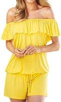 uxcell® Women Off Shoulder Sleeveless Overlay Upper Drawstring Romper M