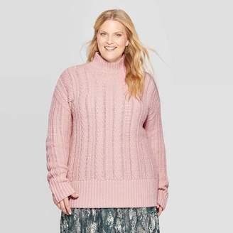 Ava & Viv Women's Plus Size Long Sleeve Cable Turtleneck Sweater