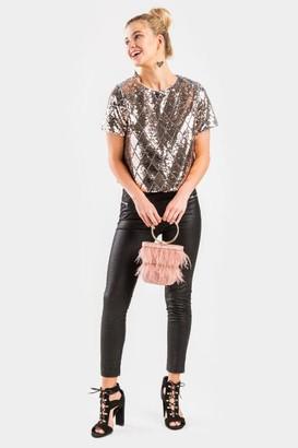 francesca's Corrine High Sheen Double Zipper Leggings - Black