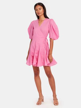 Rhode Resort Rosie Puff Sleeve Wrap Mini Dress