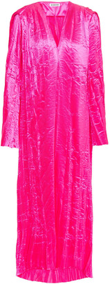 Balenciaga Oversized Neon Crinkled Plisse-satin Midi Dress