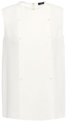 Joseph Bell Button-embellished Washed-silk Top