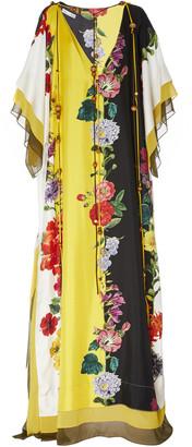Oscar de la Renta Floral-Print Silk Caftan