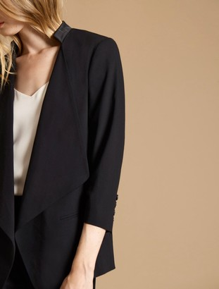 Halston Ruched Sleeve Slim Suiting Jacket