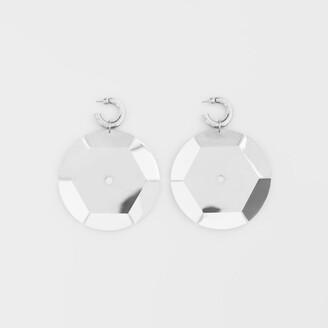 Burberry Palladium-plated Paillette Hoop Earrings