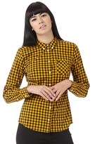 Fred Perry Womens Long Sleeve Gingham Shirt Gold