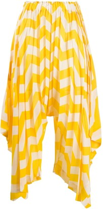 Issey Miyake Zigzag Patterned Asymmetric Trousers