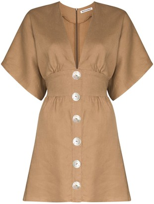 Reformation Flared Button Mini Dress