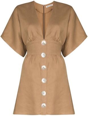 Reformation Flared Button Mini Dress