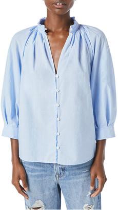 Frame Pleated V-Neck Long-Sleeve Top