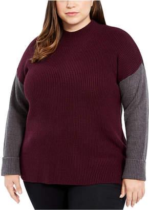 Calvin Klein Plus Size Tri-Color Mock-Neck Sweater