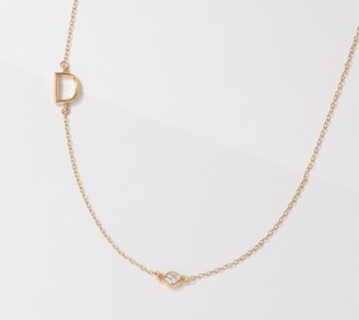 Affinity Diamond Jewelry Affinity 14K Yellow Gold Plated Diamond Initial Necklace
