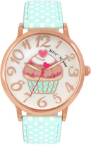 Betsey Johnson Women's Aqua and White Polka Dot Strap Watch 42mm BJ00496-47