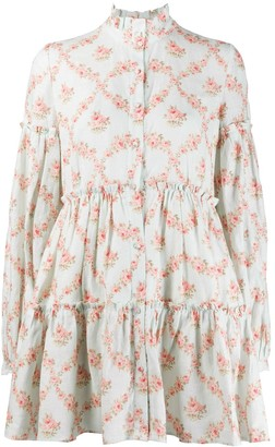 Wandering Floral-Print Flared Shirt Dress