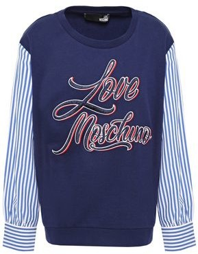 Love Moschino Striped Poplin-paneled Embroidered French Cotton-terry Sweatshirt