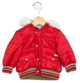 Dolce & Gabbana Girls' Fur-Trimmed Puffer Jacket