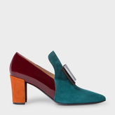 Paul Smith Women's Teal Colour-Block Suede And Leather 'Belvoir' Shoes