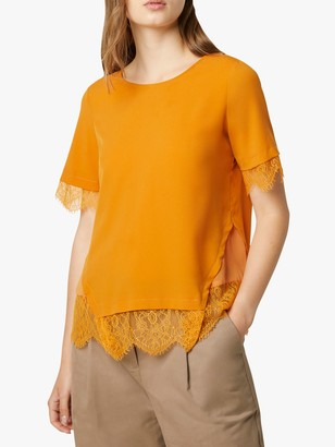 French Connection Chika Lace Sleeve Tee, Golden Oak