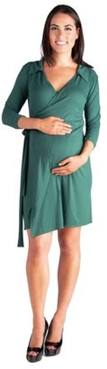 24/7 Comfort Apparel Collared V-Neck 3/4 Sleeve Maternity Wrap Dress