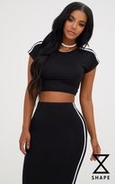 PrettyLittleThing Shape Black Stripe Shoulder Crop Top
