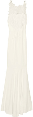 Roland Mouret Fluted Guipure Lace-paneled Crepe Bridal Gown